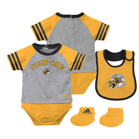 Hamilton Tiger-Cats Adidas Newborn Youth Little Kicker Creeper, Bootie & Bib Set