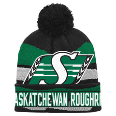 Saskatchewan Roughriders adidas Youth (8-18) Jacquard Cuff Pom Knit