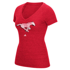 Calgary Stampeders Adidas Women's Primary Distress Tee