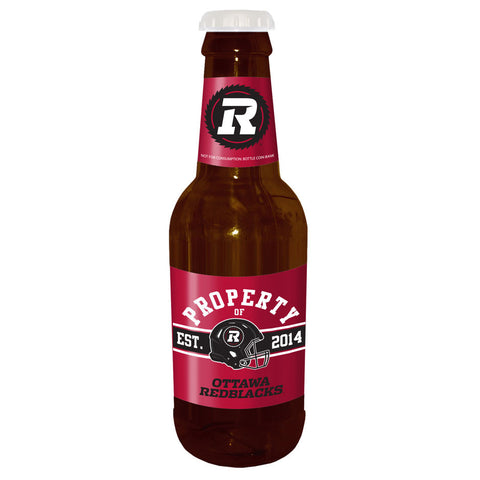 "Ottawa REDBLACKS 14"" Brown Beer Bottle Coin Bank"