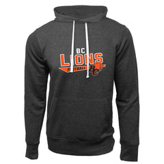 BC Lions Adult Charcoal Heather French Terry Fashion Hoodie - Design 25