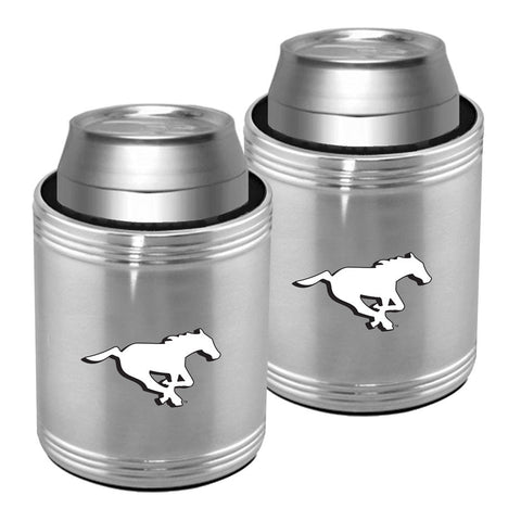 Calgary Stampeders 2pk. Silver Stainless Steel Can Holder Set