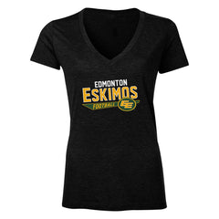 Edmonton Eskimos Women's Tri-Blend V Neck T Shirt - Design 25