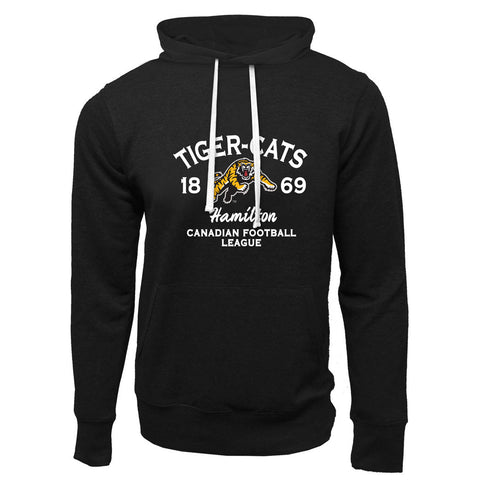 Hamilton Tiger-Cats Adult Black French Terry Fashion Hoodie - Design 08