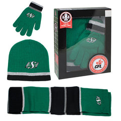 CFL Saskatchewan Roughriders Mens 3pk Winter Gift Set