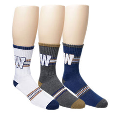 CFL Winnipeg Blue Bombers Mens 3pk Half Terry Crew Socks