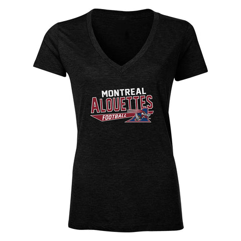 Montreal Alouettes Women's Tri-Blend V Neck T Shirt - Design 25
