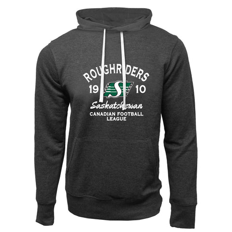 Saskatchewan Roughriders Adult Charcoal Heather French Terry Fashion Hoodie - Design 08