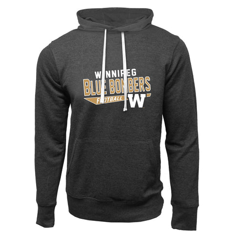 Winnipeg Blue Bombers Adult Charcoal Heather French Terry Fashion Hoodie - Design 25