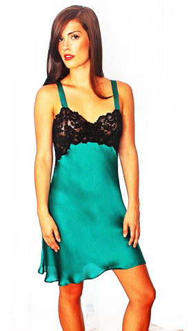 Silk and Lace Chemise in Teal by Linda Hartman