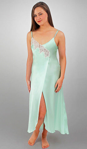 Women's aqua silk and lace nightgown