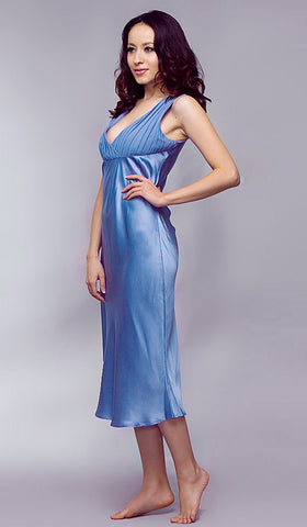 Women's Blue Silk and Chiffon Nightgown