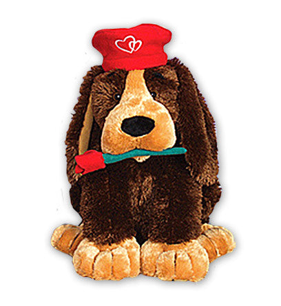 Plush - Gisselle Puppy Dog w/Red Rose