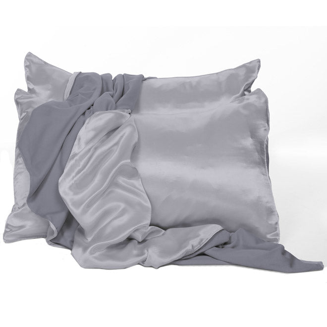 Morning Blue Satin Pillowcases - Standard and King Size - by PJ Harlow