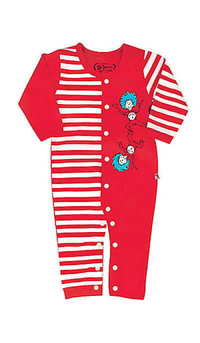 "Infants Dr. Seuss ""Cat in the Hat"" Red and White Coverall Pajamas (6-9 mos.)"