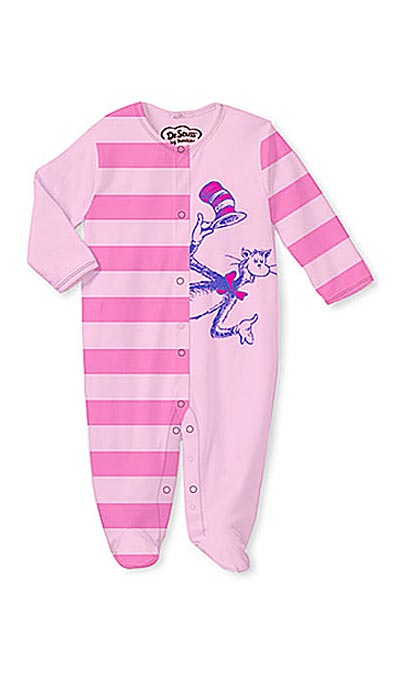 "Infant Sleeper - Dr. Seuss ""Cat in the Hat"" Cotton Footed Pajamas Red"