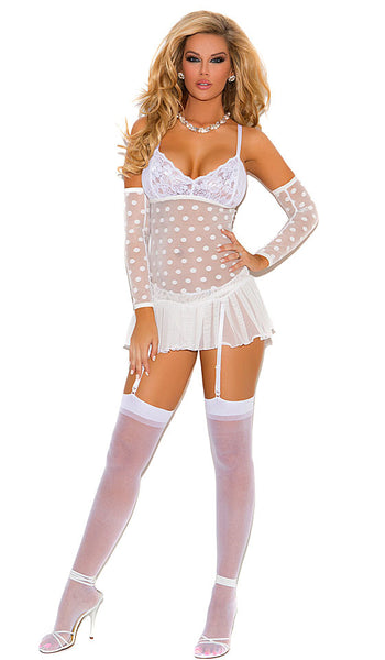 Women's White Bridal Polka-Dot Babydoll with Garters by Elegant Moments