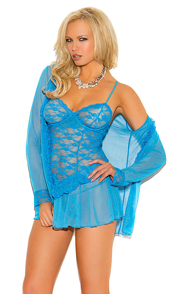 Women's Blue Stretch Lace Babydoll Coat Set by Elegant Moments - view 2