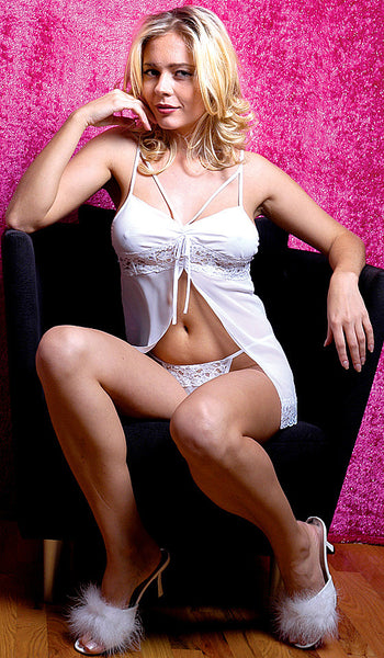 Women's Babydoll - White Chiffon Open-Front Lace Trim