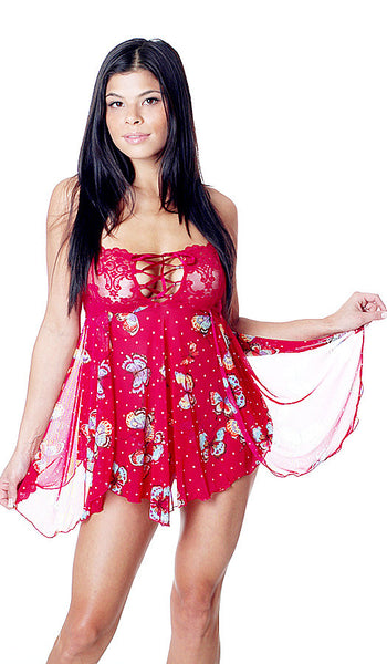 Women's Babydoll - Red Stretch Mesh & Lace Butterfly Print