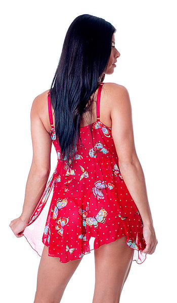 Women's Babydoll - Red Stretch Mesh & Lace Butterfly Print - back view