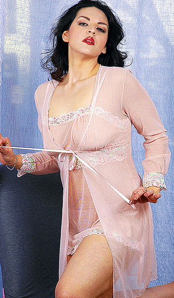 Women's Babydoll Coat Set - Pink Dotted Mesh w/Lace Trim