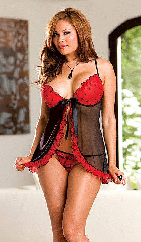 66805f57bf9 Women s Plus Size Babydoll - Black Red Chiffon w Tiny Hearts   Ruffle Trim  ...