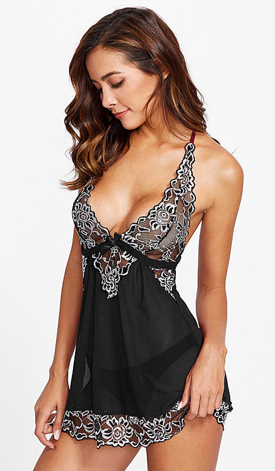 Women's Black & Silver Lace & Mesh Halter-Top Babydoll by iCollection