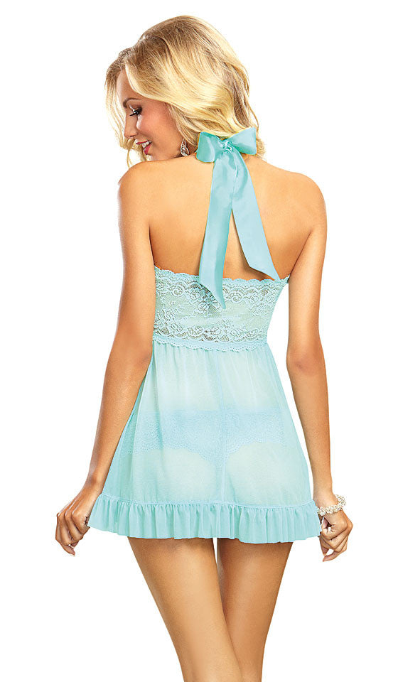 Women's Babydoll - Aqua Blue Halter-Top Lace & Ruffle Front by Dreamgirl
