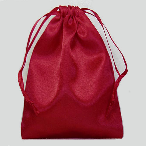 Red Small Drawstring Pouch in Poly Satin Charmeuse
