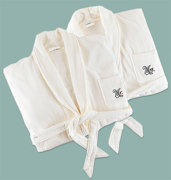 Mr. and Mrs. Cotton Terry Bath Robes Wedding Gift Set - view 2
