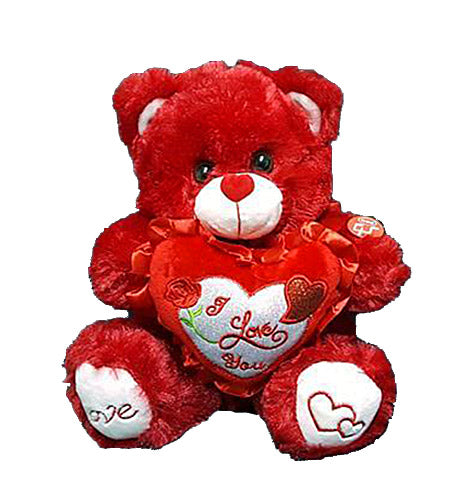 "Musical Valentine Bear with ""I Love You"" Heart - Red or White (10"" high)"