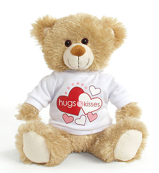"Plush - Hearts ""Hugs and Kisses"" Camel Brown Teddy Bear"