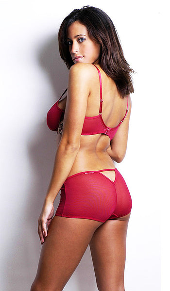 Women's Bra Set - Red Embroidered Fine Mesh Bra & Boy Short - back view