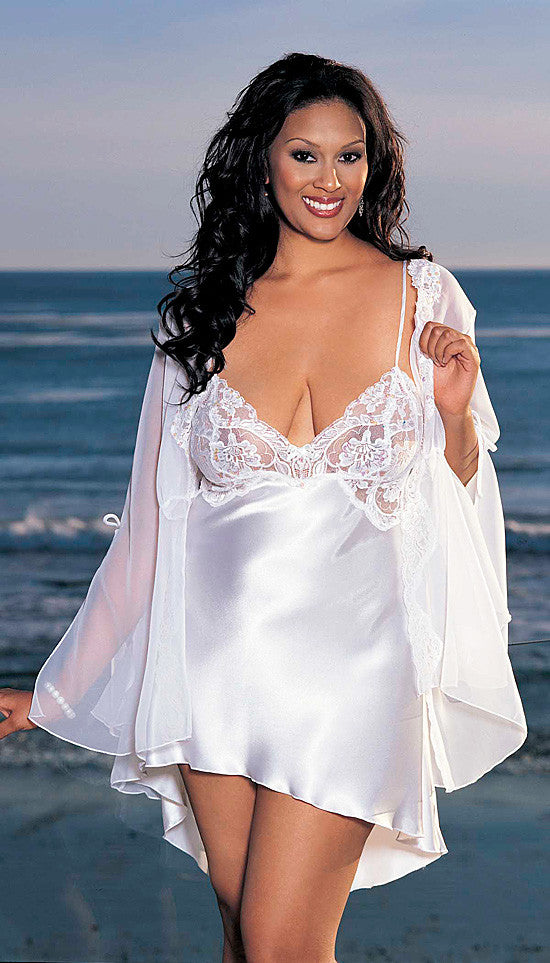 Women's Plus Size Chemise - White Bridal Charmeuse w/Embellished Lace Trim by Shirley of Hollywood