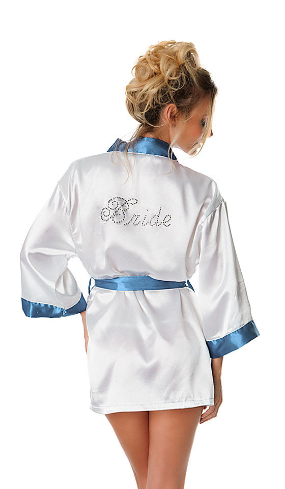 Poly Satin White Bridal Robe with Rhinestones and Blue Trim by Oh la la Cherie - back view