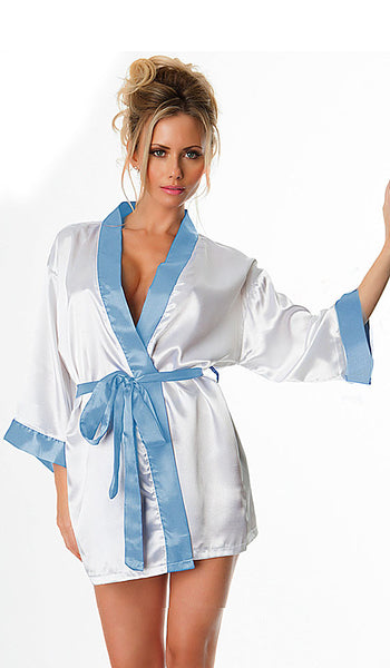 Poly Satin White Bridal Robe with Rhinestones and Blue Trim by Oh la la Cherie