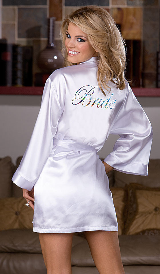 Women's White Satin Bride Kimono Robe with Rhinestones by Dreamgirl - backview 2