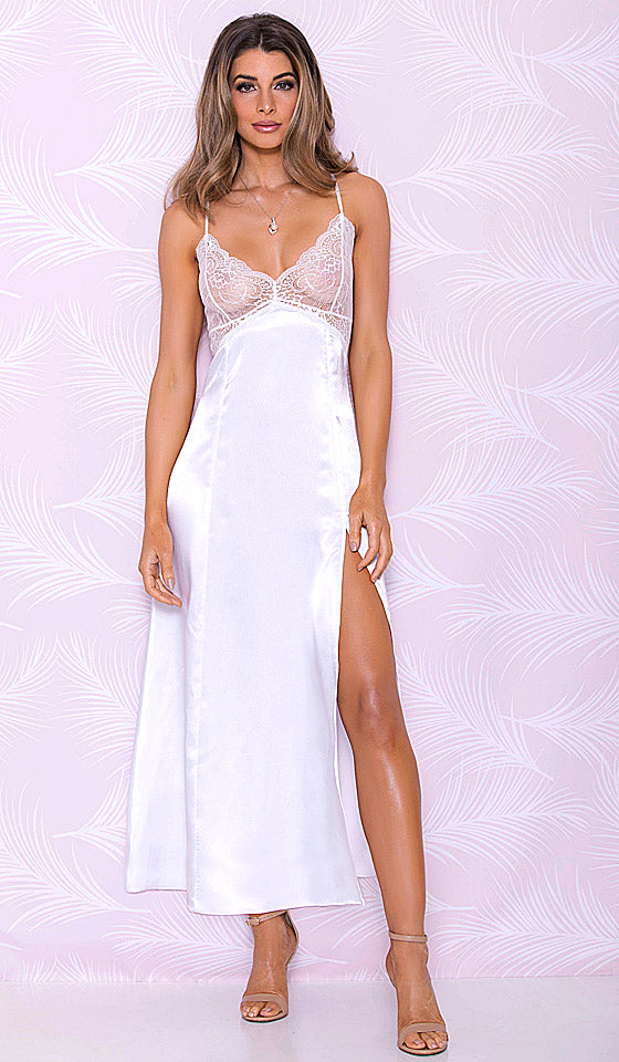 Women' white bridal satin charmeuse nightgown with lace-bodice and side slit (Small-3X)