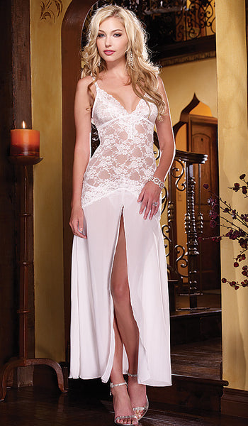 Women's Gown - Bridal White Stretch Lace & Chiffon by Dreamgirl