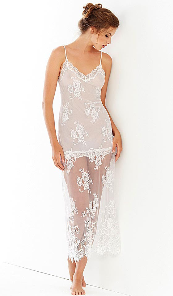 Women's Alana All-Over Lace Bridal Nightgown by In-Bloom by Jonquil - back view