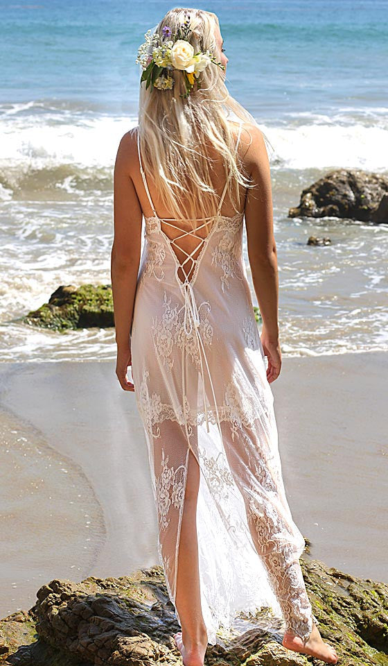 Women's Alana Ivory Bridal Lace Nightgown by In-Bloom by Jonquil - back view
