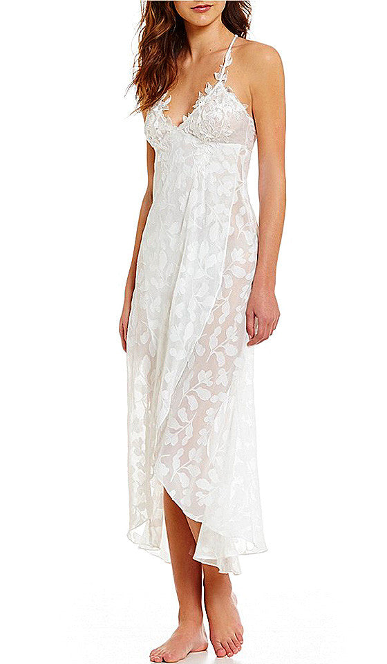 2e2118a18 Women s Sheer White Bridal Opal Leaf Chiffon Nightgown (Large only ...