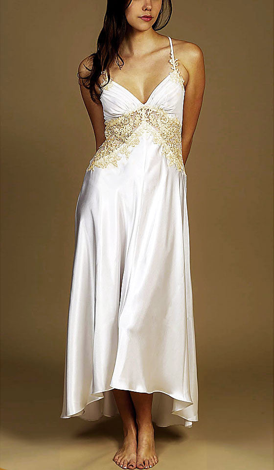 Women's Sabrina Ivory Hi-Low Satin & Lace Bridal Nightgown by Jonquil