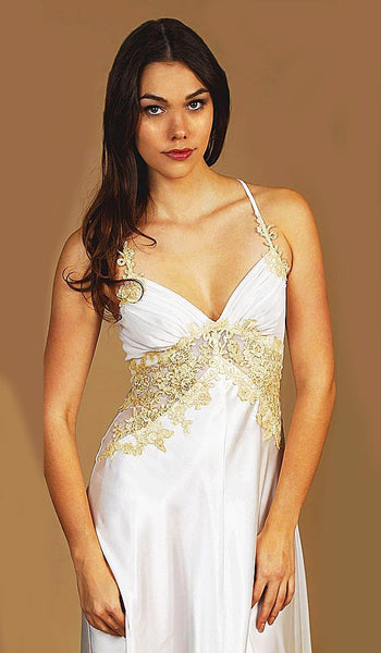 Women's Sabrina Ivory Hi-Low Satin & Lace Bridal Nightgown by Jonquil - view 2
