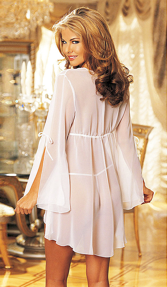 Women's Robe - White Bridal Sheer Chiffon w/Embellished Lace Trim by Shirley of Hollywood