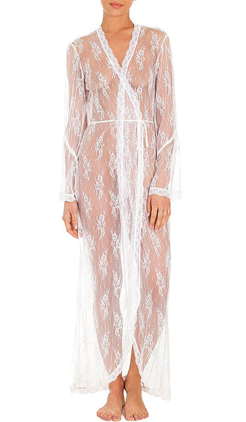 Women's Ivory Bridal Sheer Lace Robe by In-Bloom by Jonquil