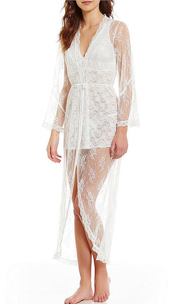 Women's Ivory Bridal Sheer Lace Robe by In-Bloom by Jonquil - view 2