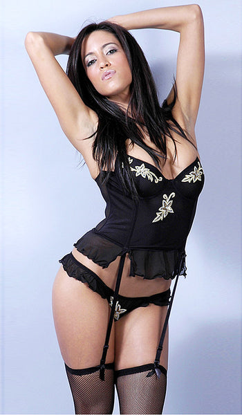 Women's Bustier - Black Fine Mesh w/Metallic Appliqués