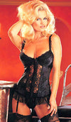 Women's satin jacquard black long-line bustier by Shirley of Hollywood